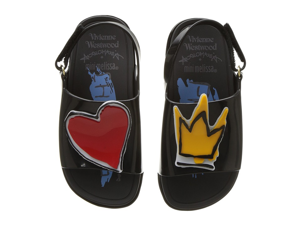 + Melissa Luxury Shoes - Vivienne Westwood Mini Anglomania + Melissa Beach Slide Sandal (Toddler) (Black) Womens Shoes