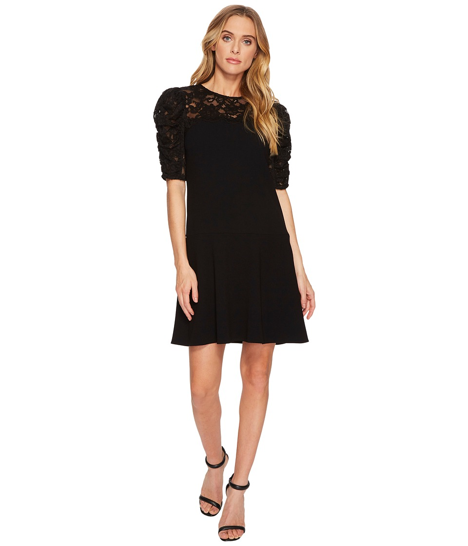 Rebecca Taylor - Short Sleeve Crepe Lace Dress (Black) Womens Dress