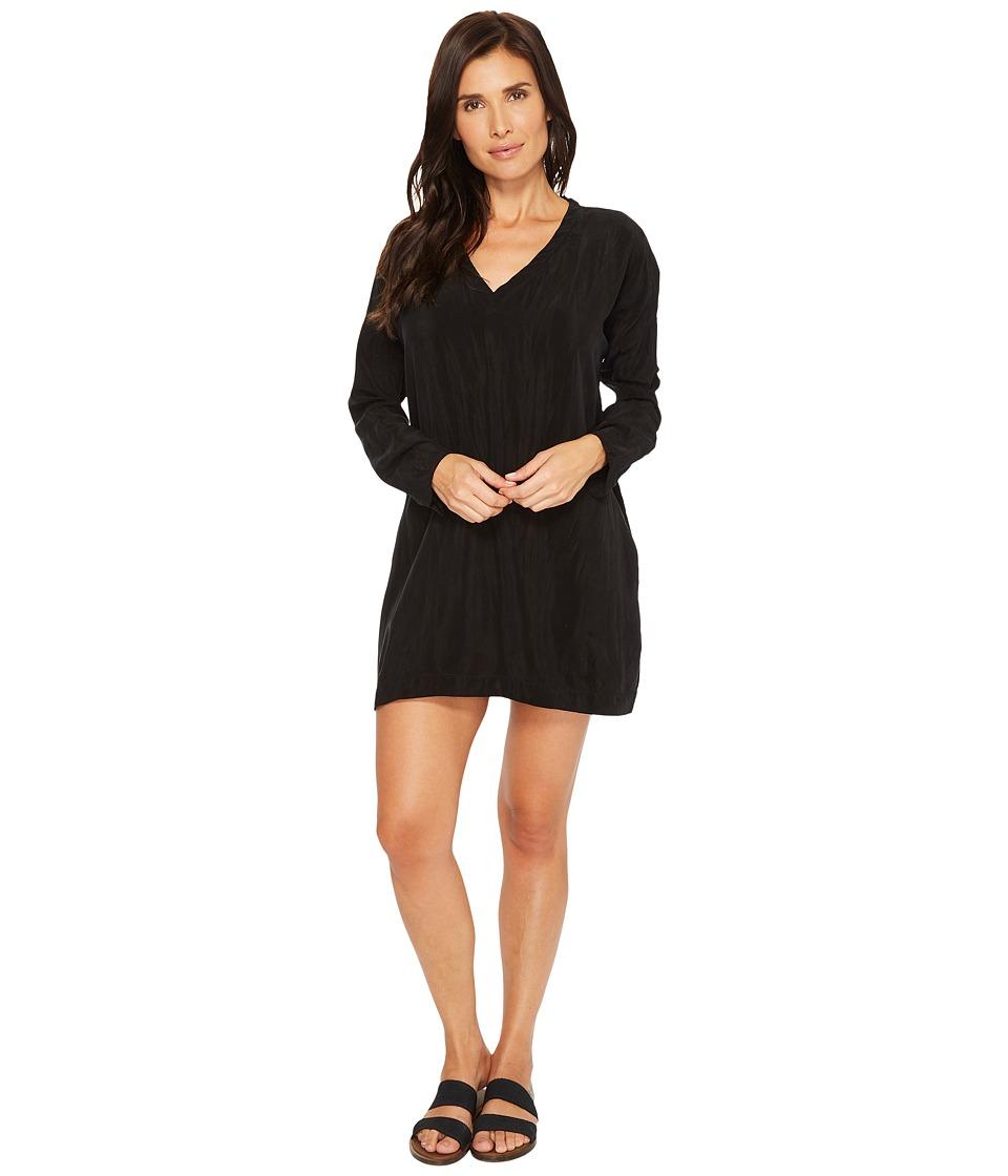 Hard Tail Relaxed Long Sleeve V-Neck Dress (Black) Women