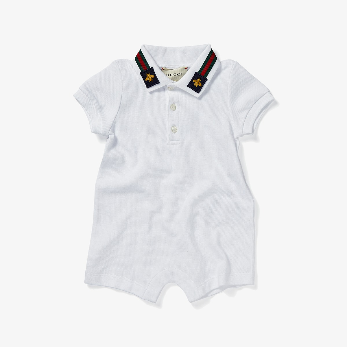 Gucci Kids - Sleepsuit 497861X9L97 (Infant) (Optic White/Green/Red) Boys Jumpsuit & Rompers One Piece
