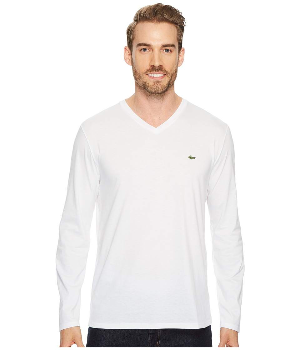 Lacoste Long Sleeve Pima Jersey V-Neck T-Shirt (White) Men