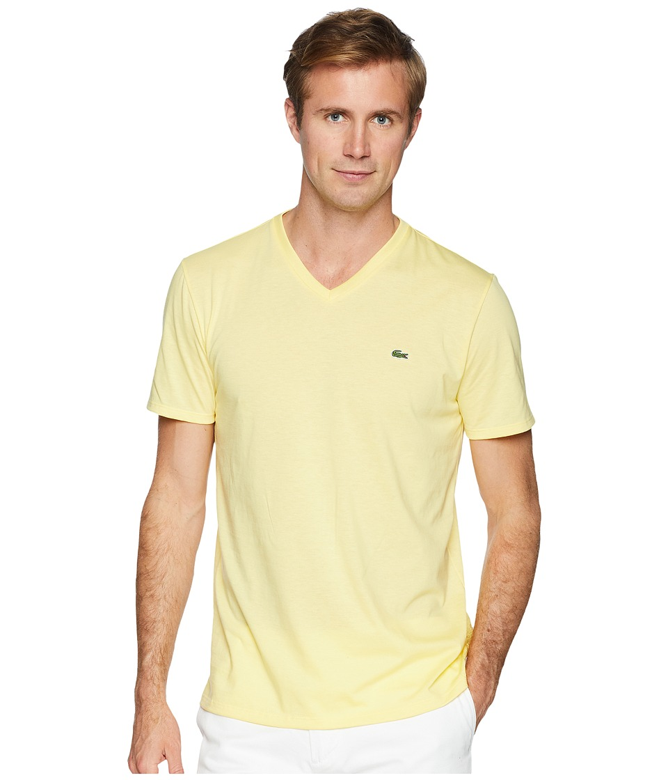 Lacoste - Short Sleeve V-Neck Pima Jersey Tee Shirt (Yellow) Mens T Shirt