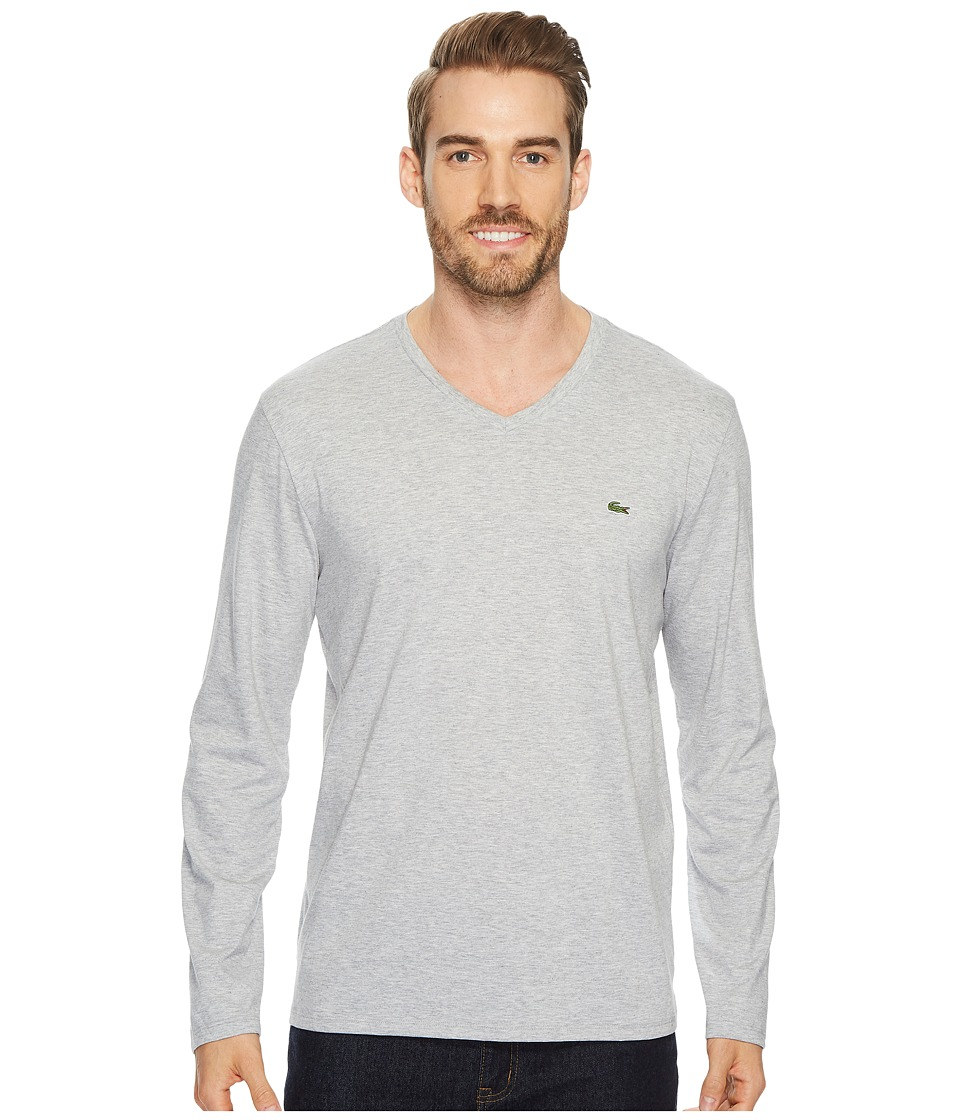 Lacoste Long Sleeve Pima Jersey V-Neck T-Shirt (Silver Chine) Men