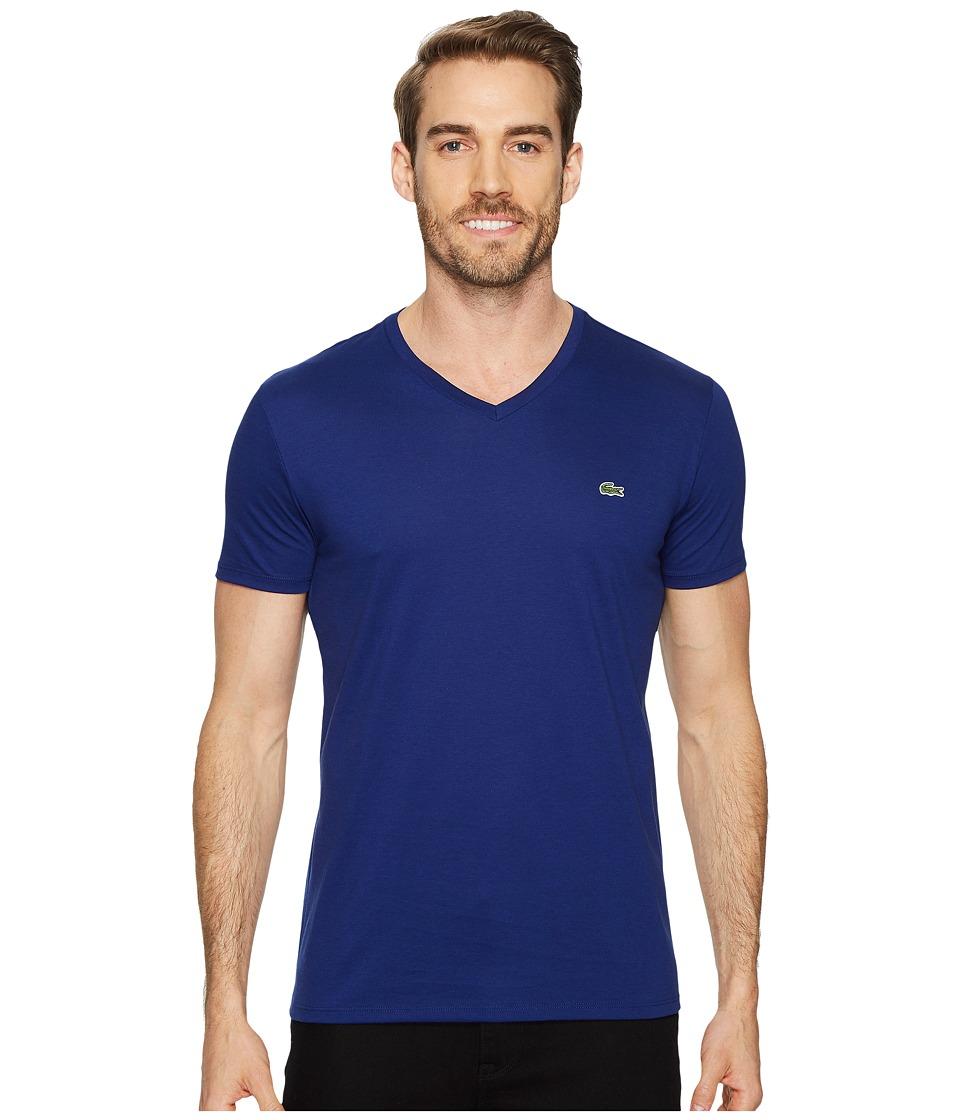 Lacoste Short Sleeve V-Neck Pima Jersey Tee (Ocean) Men's T Shirt
