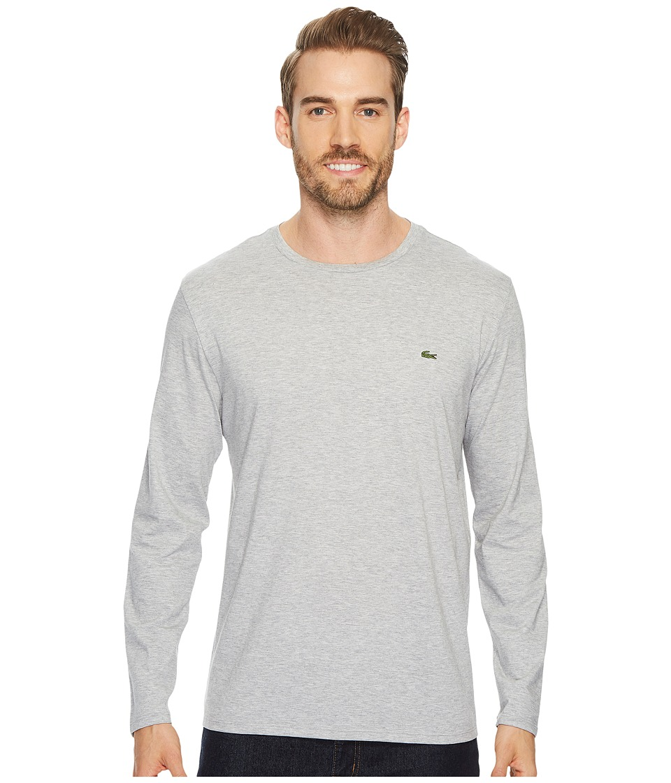 Lacoste - Long Sleeve Pima Jersey Crew Neck T-Shirt (Silver Chine) Mens T Shirt