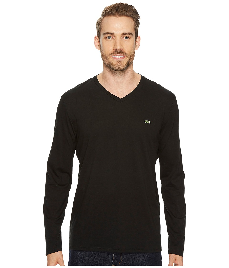 Lacoste - Long Sleeve Pima Jersey V-Neck T-Shirt (Black) Mens T Shirt