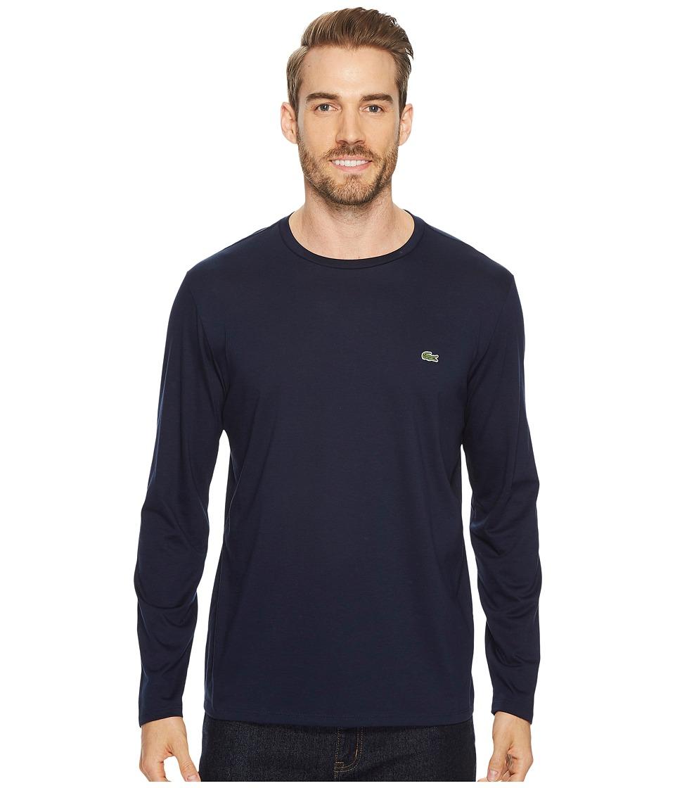 Lacoste Long Sleeve Pima Jersey Crew Neck T-Shirt (Navy Blue) Men