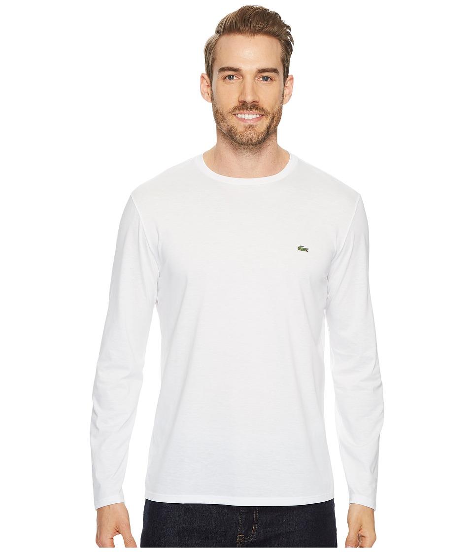 Lacoste Long Sleeve Pima Jersey Crew Neck T-Shirt (White) Men