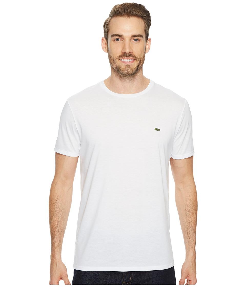 Lacoste Short Sleeve Pima Crew Neck Tee (White) Men
