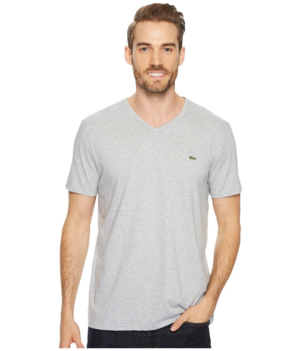 Lacoste Short Sleeve V-Neck Pima Jersey Tee (Silver Chine) Men's T Shirt