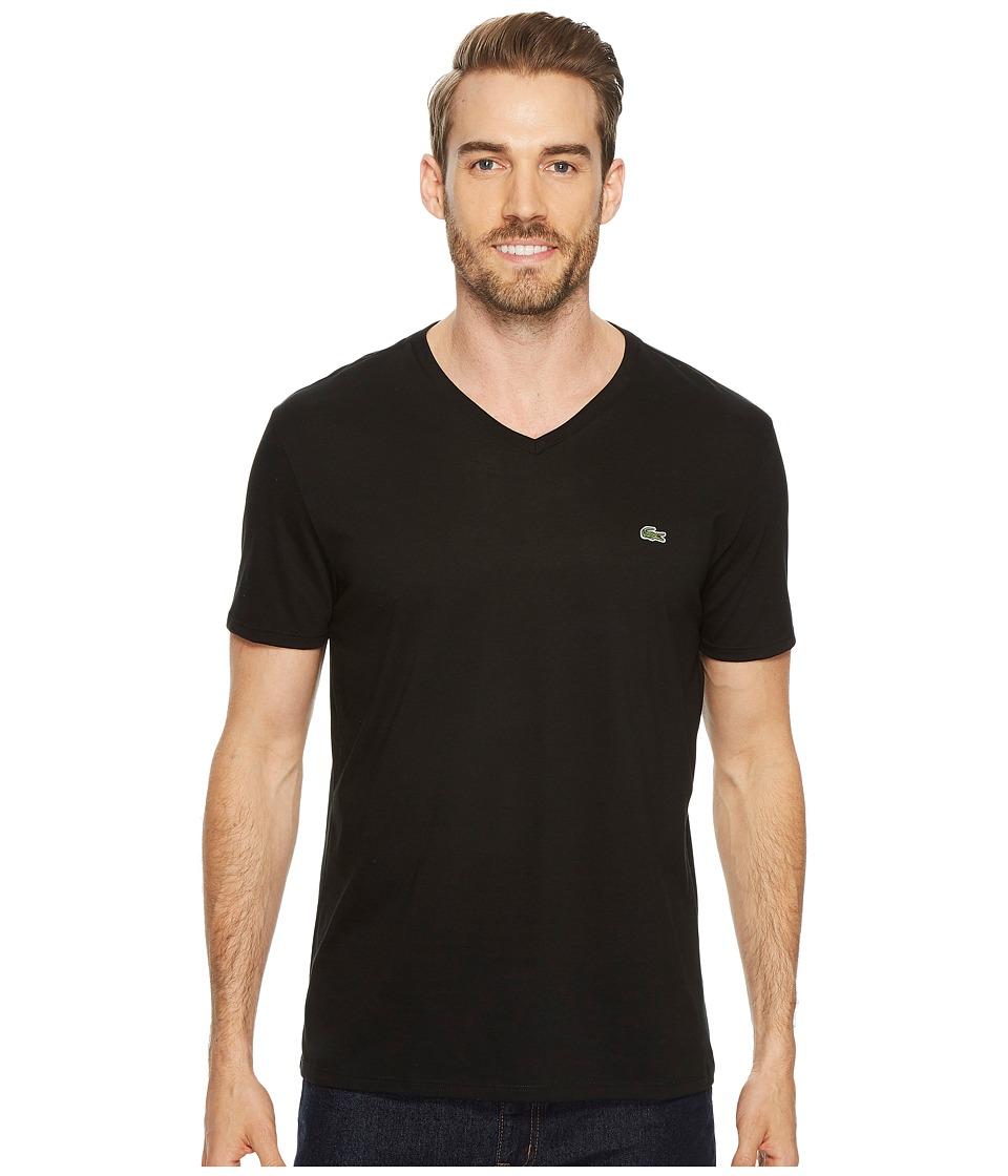 Lacoste Short Sleeve V-Neck Pima Jersey Tee (Black) Men's T Shirt