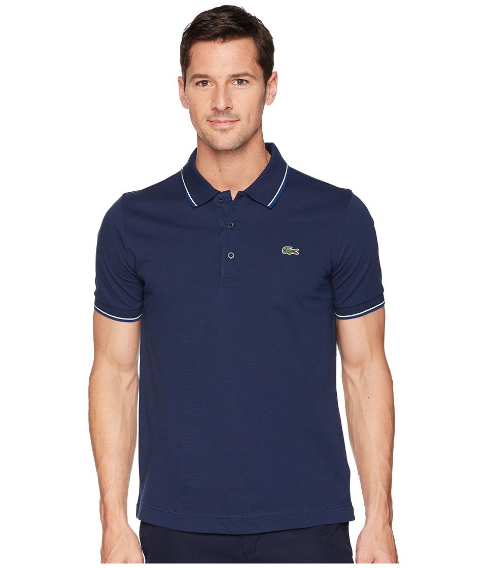 Lacoste - Short Sleeve Super Light Semi Fancy Polo (Navy Blue/Marino/White) Mens Short Sleeve Pullover
