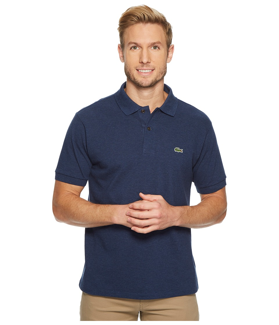 Lacoste Short Sleeve Classic Fit Chine Pique Polo Shirt (Nocturne Blue Chine) Men's Short Sleeve Pullover