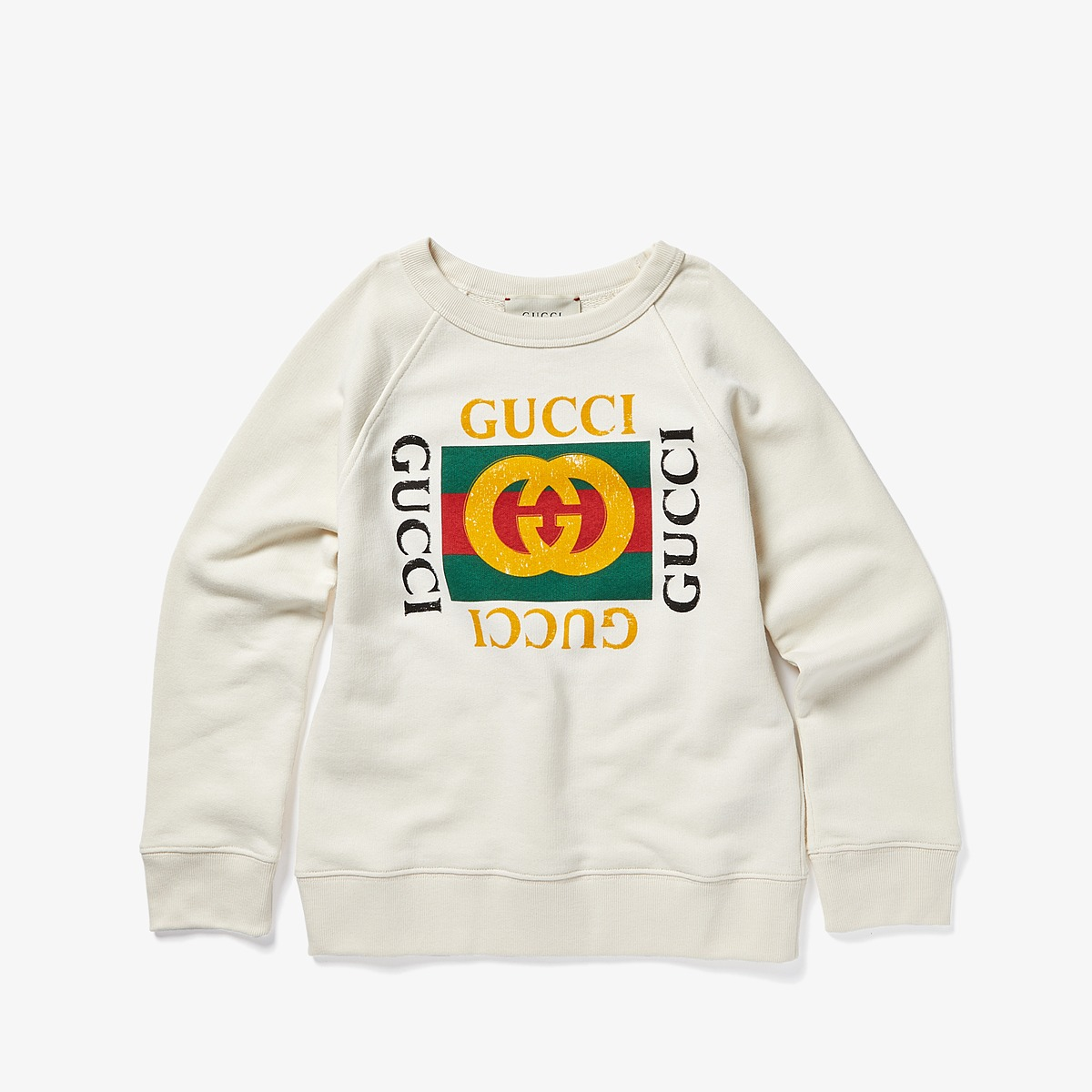 Gucci Kids - Sweatshirt 483878X3G97 (Little Kids/Big Kids) (White/Green/Red) Kids Sweatshirt