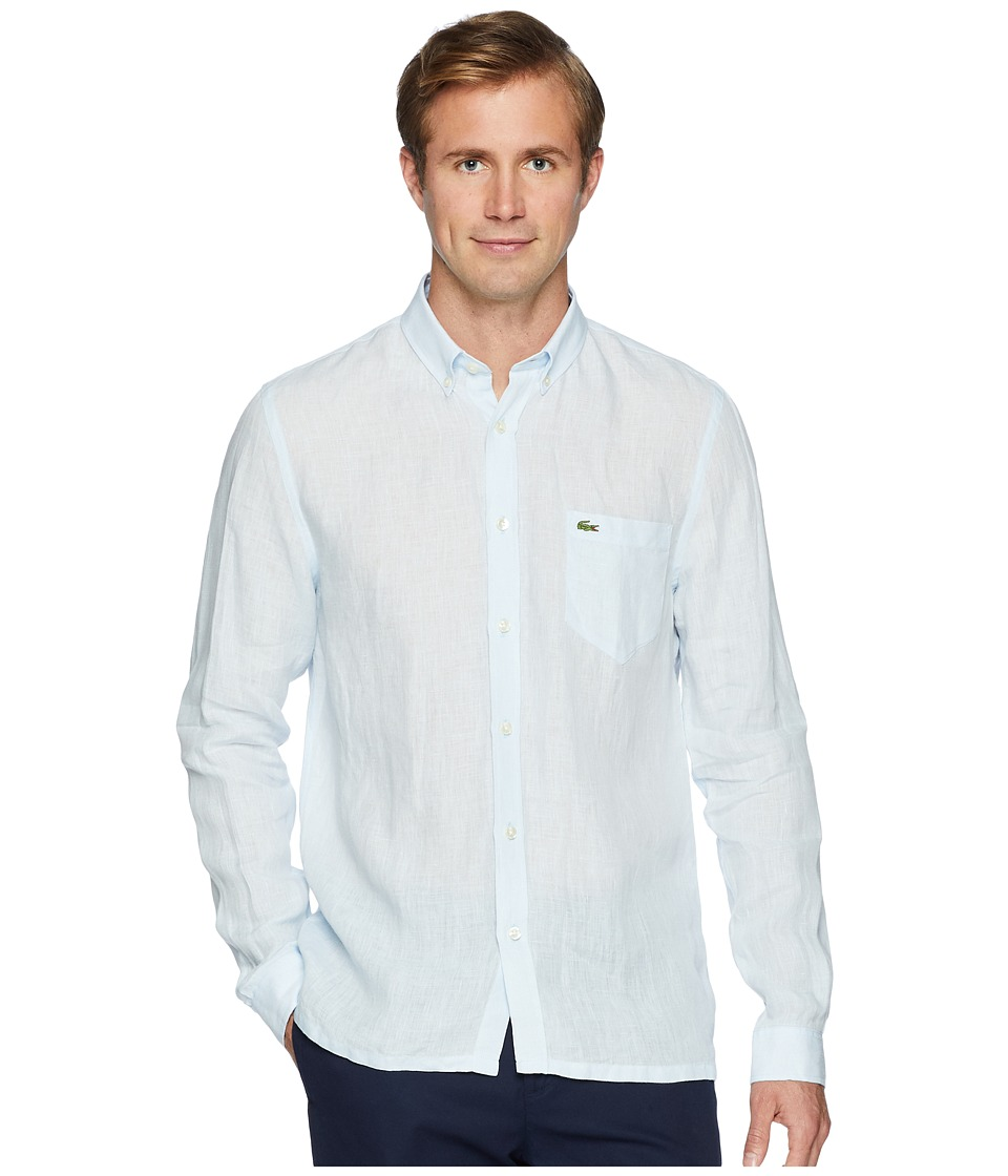 Lacoste Long Sleeve Solid Linen Button Down Collar Regula...