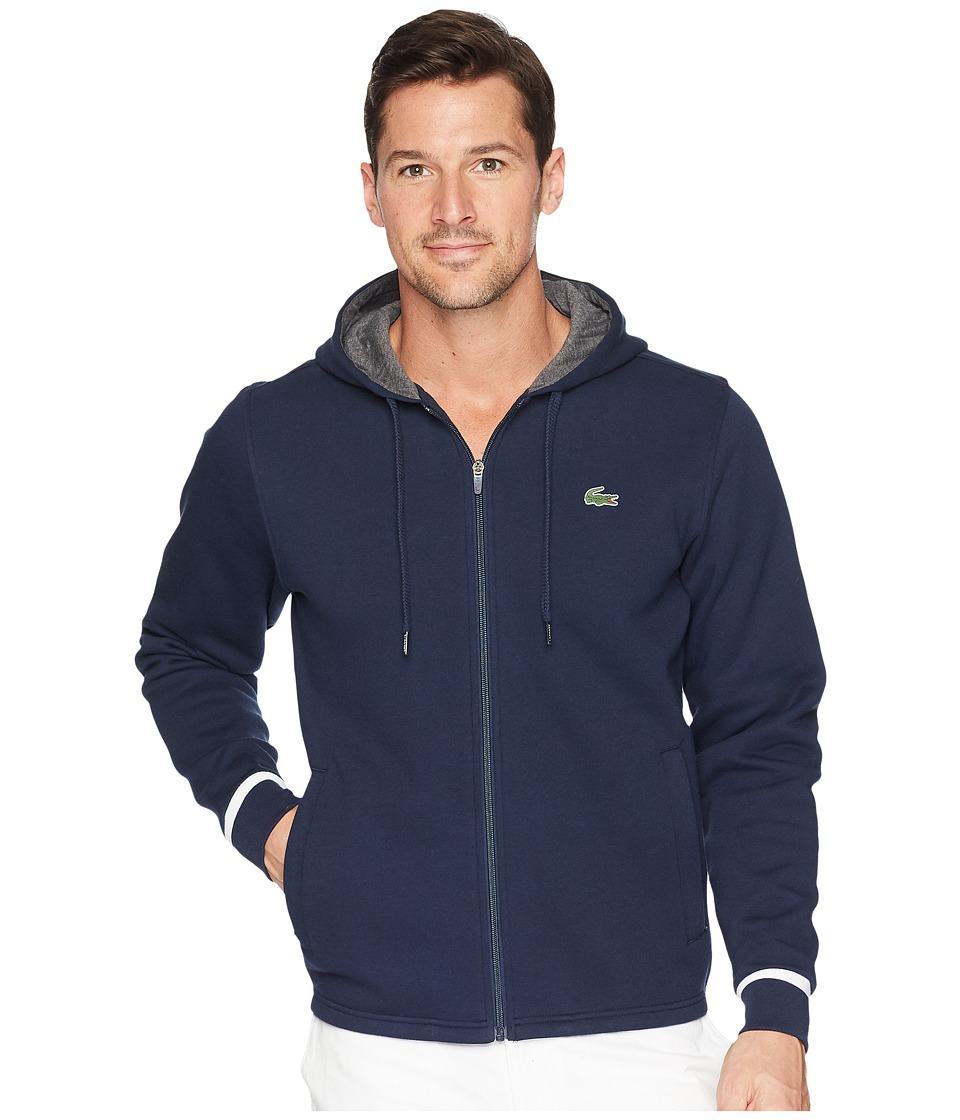 Lacoste - Long Sleeve Molleton Gratte Hoodie w/ Novak Graphic On Back (Navy Blue/White) Mens Sweatshirt