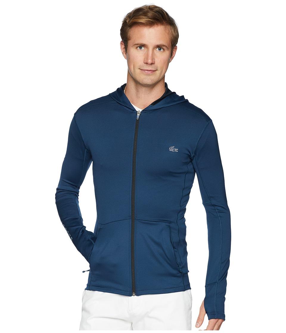 Lacoste - Long Sleeve Bicolor Mid Layer Hoodie w/ Contrast Chevron Detail (Trade Wind Blue/Black) Mens Sweatshirt