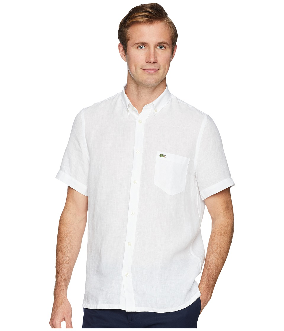 Lacoste Short Sleeve Solid Linen Button Down Collar Regul...