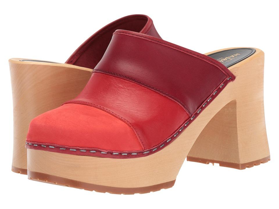Swedish Hasbeens Color Combo Slip-In (Red Nubuck) Women's...