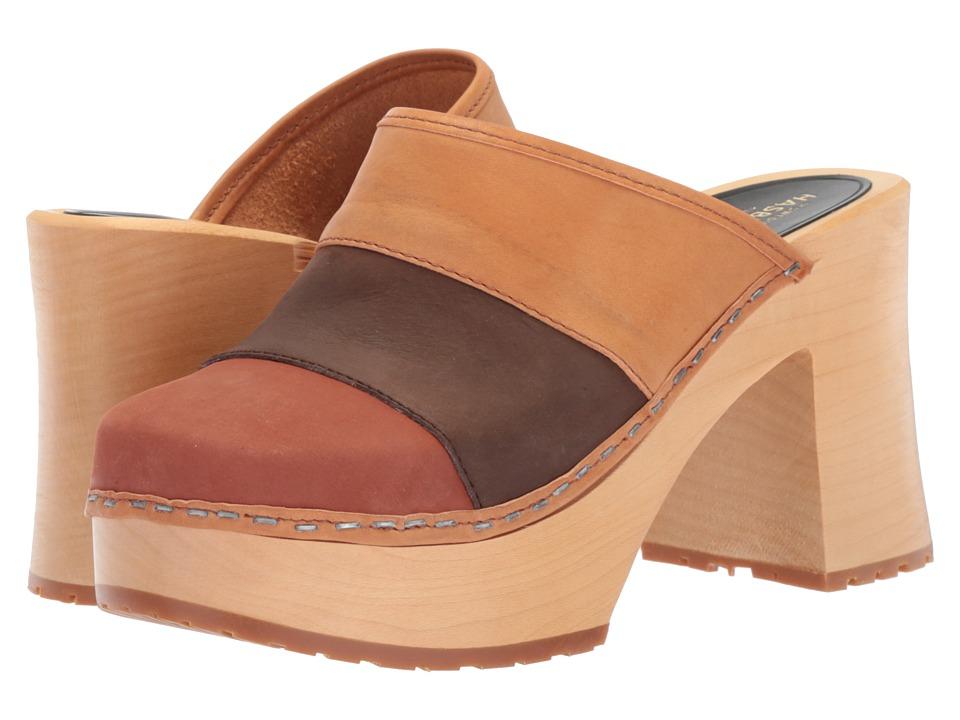 Swedish Hasbeens Color Combo Slip-In (Brown Nubuck) Women...