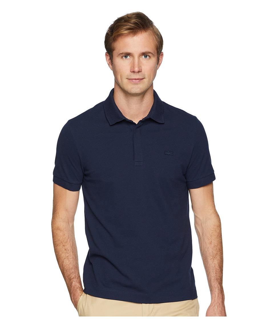 Lacoste - Short Sleeve Solid Stretch Pique Regular (Navy Blue) Mens Short Sleeve Pullover