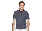 Lacoste Short Sleeve Pique Ultra Dry w/ Micro Check Print Contrast Zipper Placket