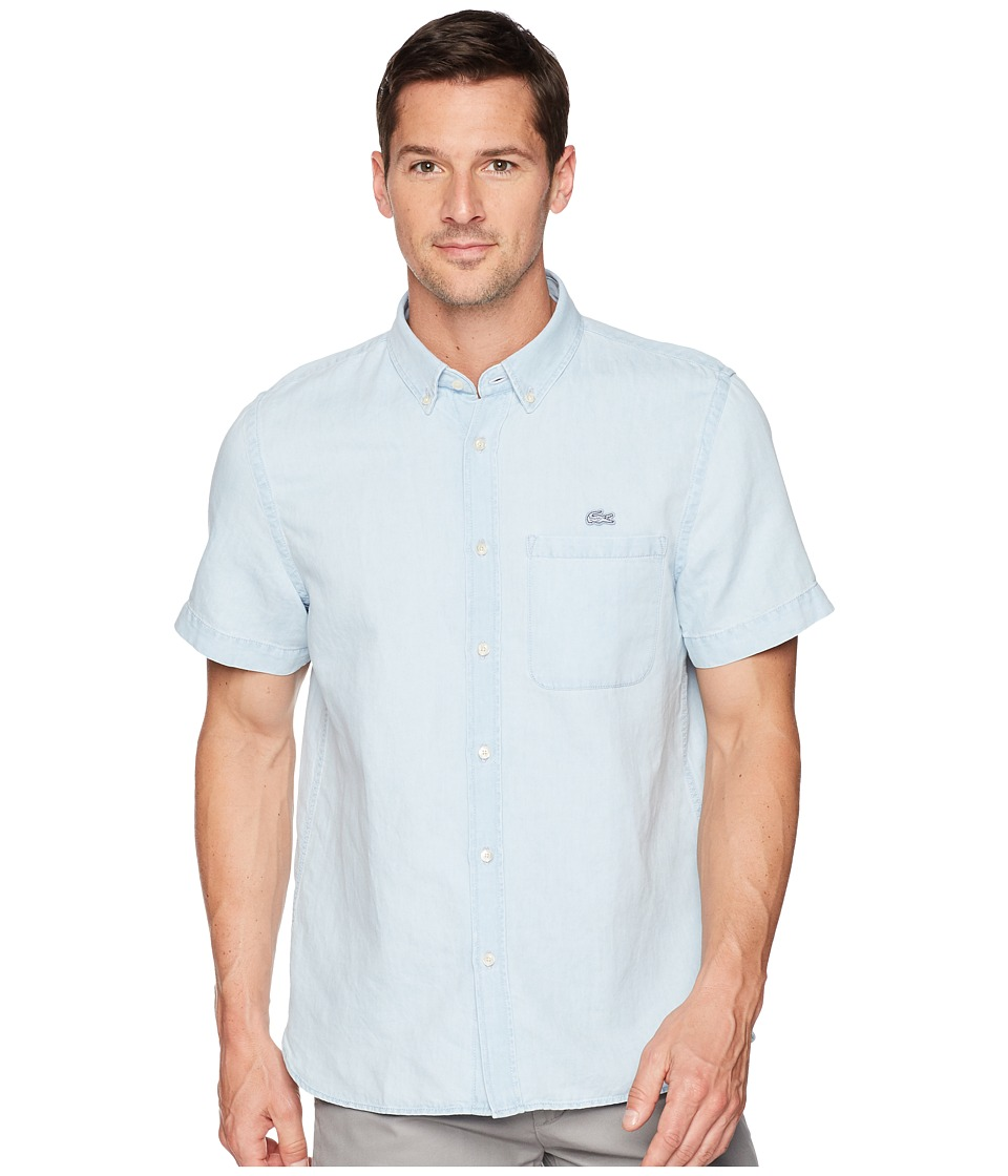 Lacoste Short Sleeve Hawaii Collar Cotton/Linen Indigo Re...