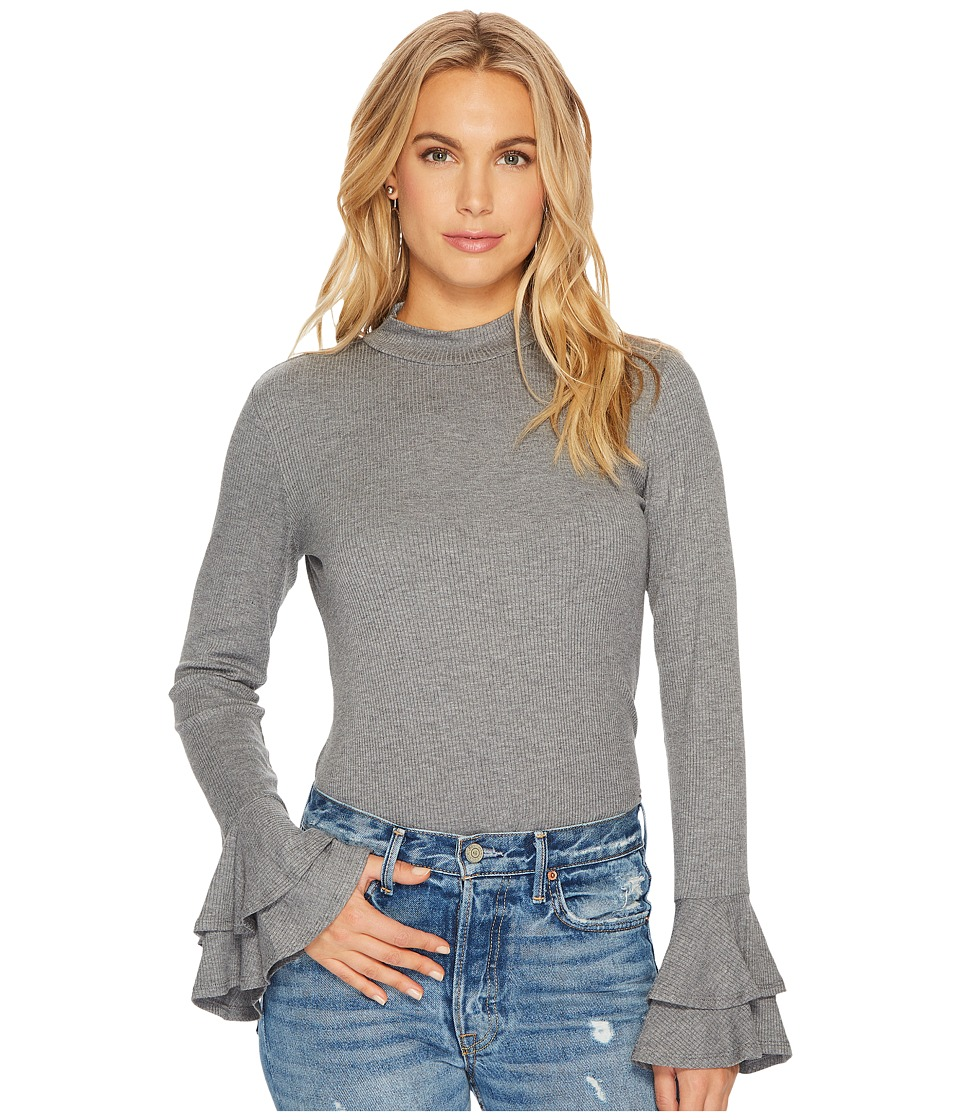 1.STATE - Long Sleeve Mock Neck Top with Double Ruffle Cuff