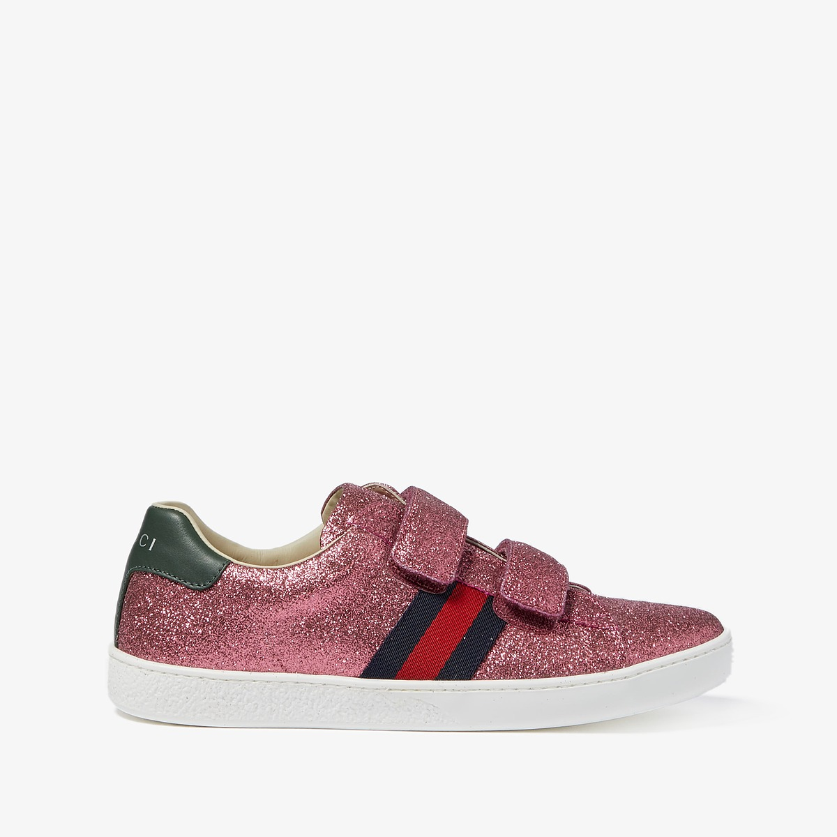 Gucci Kids New Ace V.L. Sneakers (Little Kid/Big Kid) (Medium Green/Rose) Kids Shoes