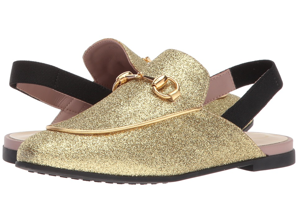 Gucci Kids - Princetown Driving (Little Kid) (White/Gold/Black Misc) Girls Shoes