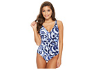 Tommy Bahama Pansy Over the Shoulder Wrap Front One-Piece