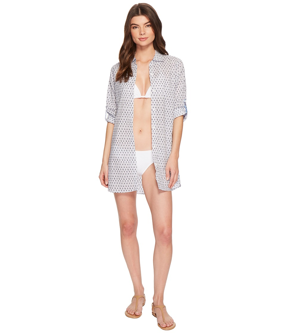 Tommy Bahama Tika Tiles Boyfriend Shirt Cover-Up (White)