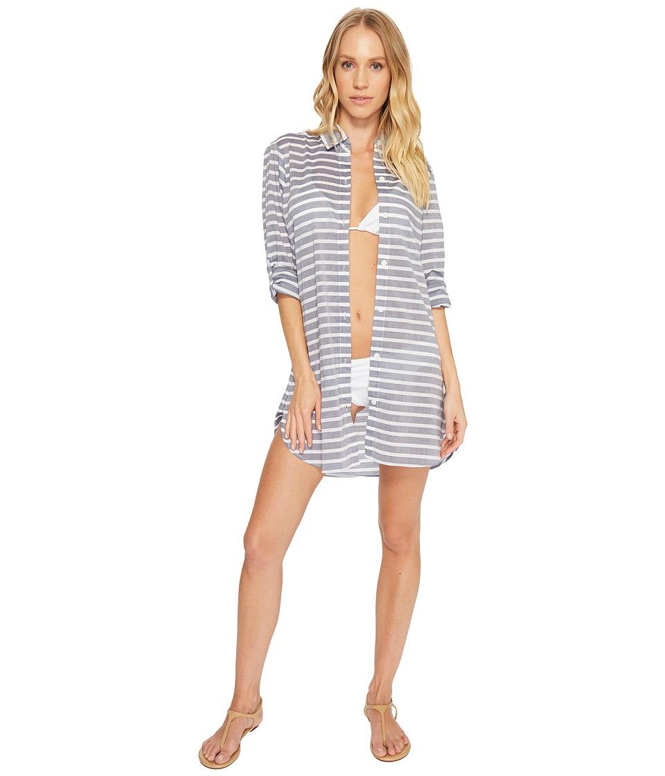 Tommy Bahama Breton Stripe Boyfriend Shirt Cover-Up (Mare Navy Heather/White)