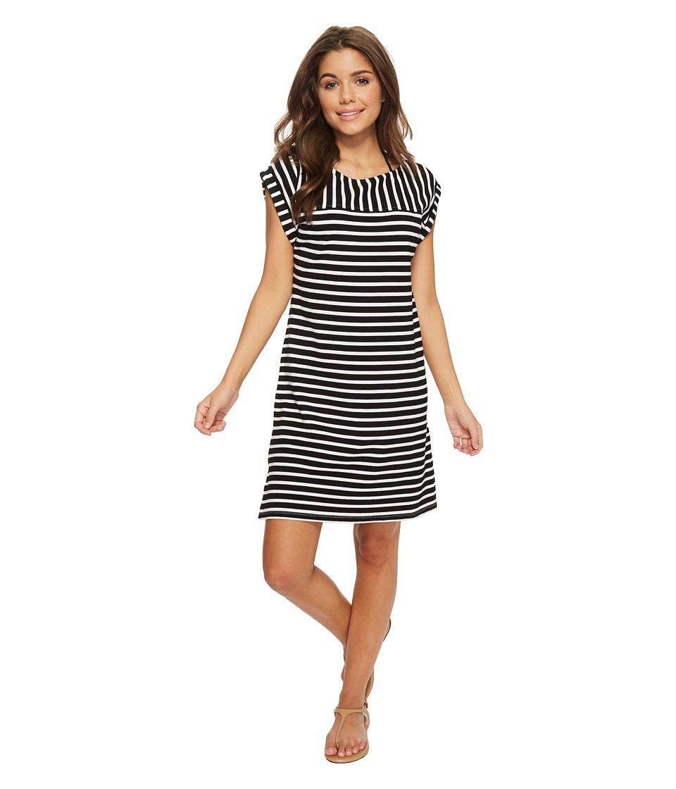 Tommy Bahama Breton Stripe Rolled-Sleeve Dress Cover-Up (Black/White)