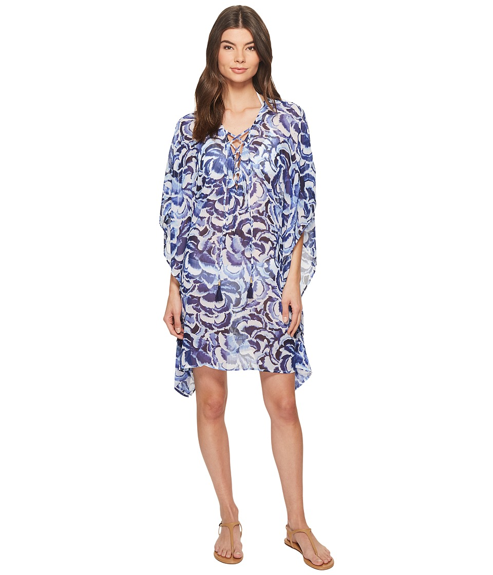 Tommy Bahama Pansy Petals Lace-Up Tunic Cover-Up (White)