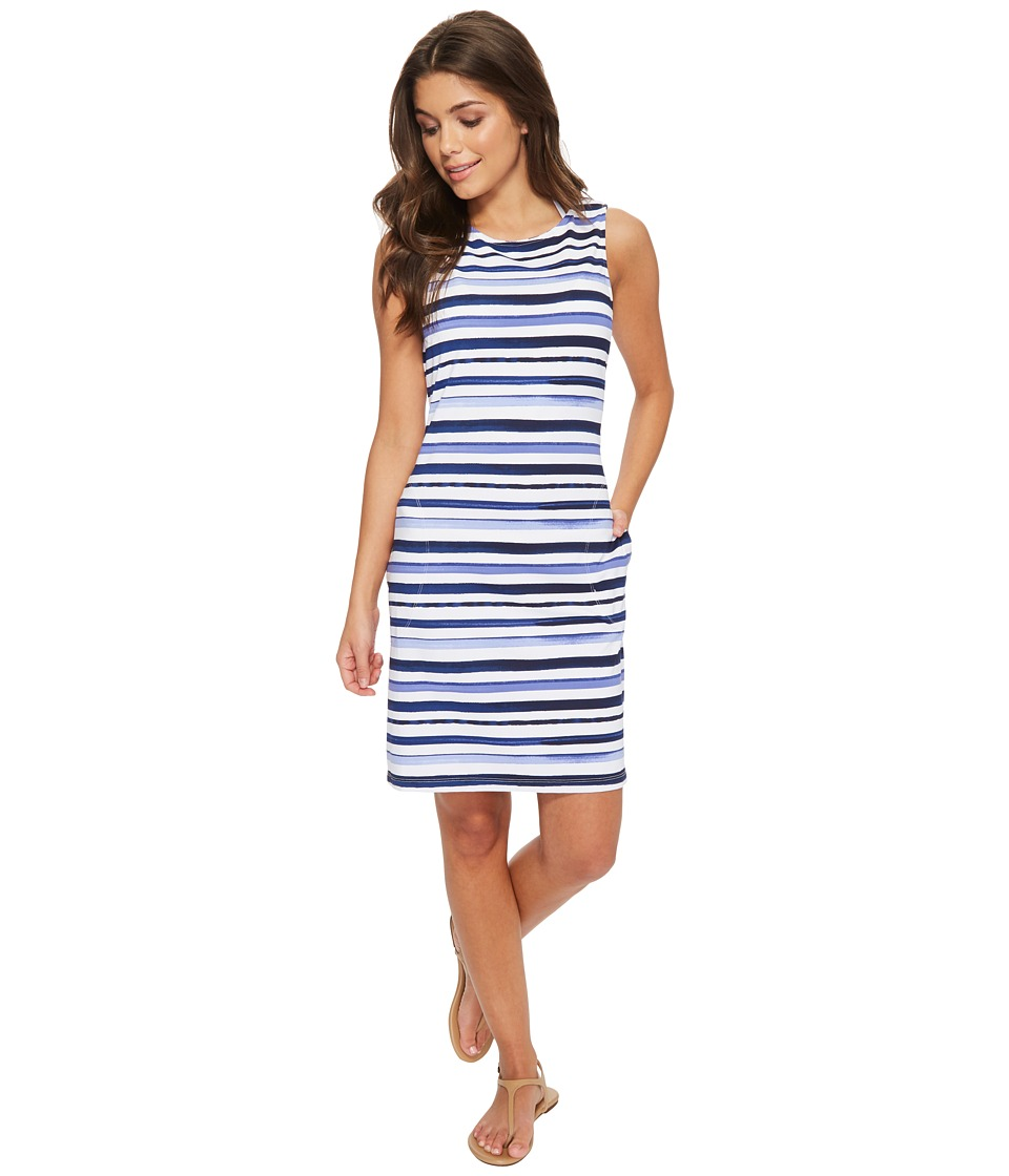 Tommy Bahama Watercolor Stripe Swim Dress Cover-Up (White)