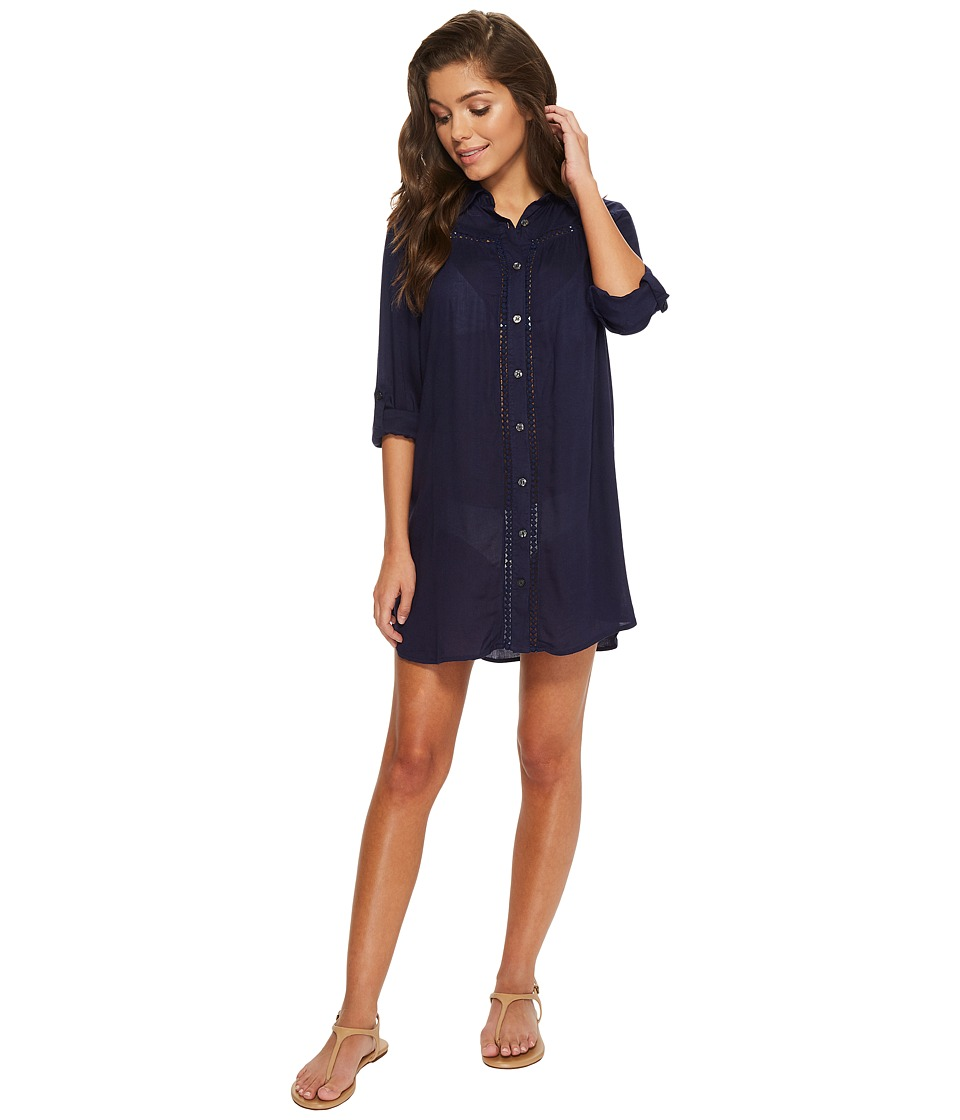 Tommy Bahama Lace Shirred Boyfriend Shirt Cover-Up (Mare Navy) Women