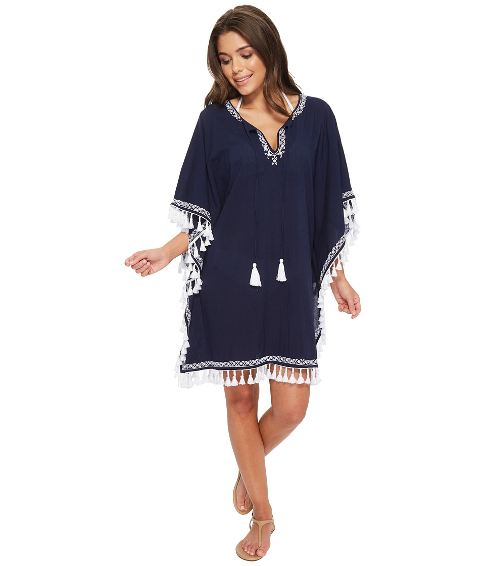 Tommy Bahama Crinkle Embroidered Tunic Cover-Up (Mare Navy/White)