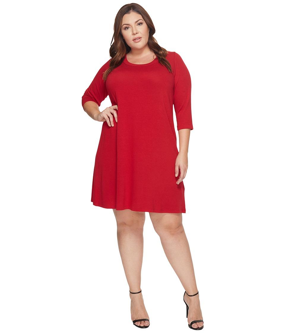 Karen Kane Plus Plus Size 3/4 Sleeve A-Line Dress (Red) Women