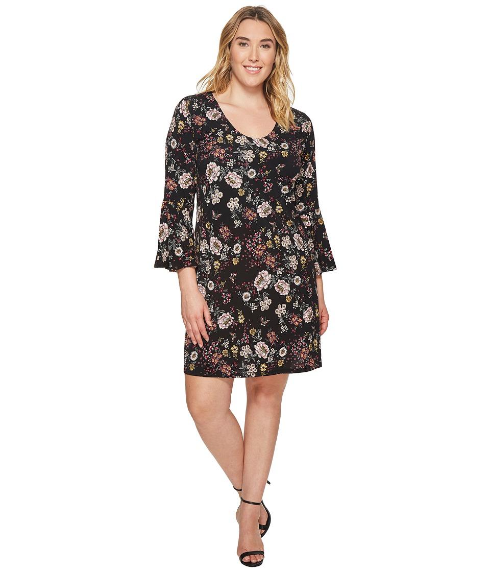 Karen Kane Plus Plus Size Floral V-Neck Bell Sleeve Dress (Floral) Women