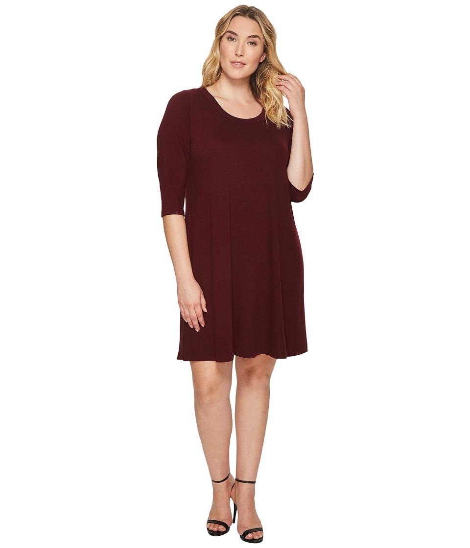 Karen Kane Plus Plus Size 3/4 Sleeve Dress (Wine) Women