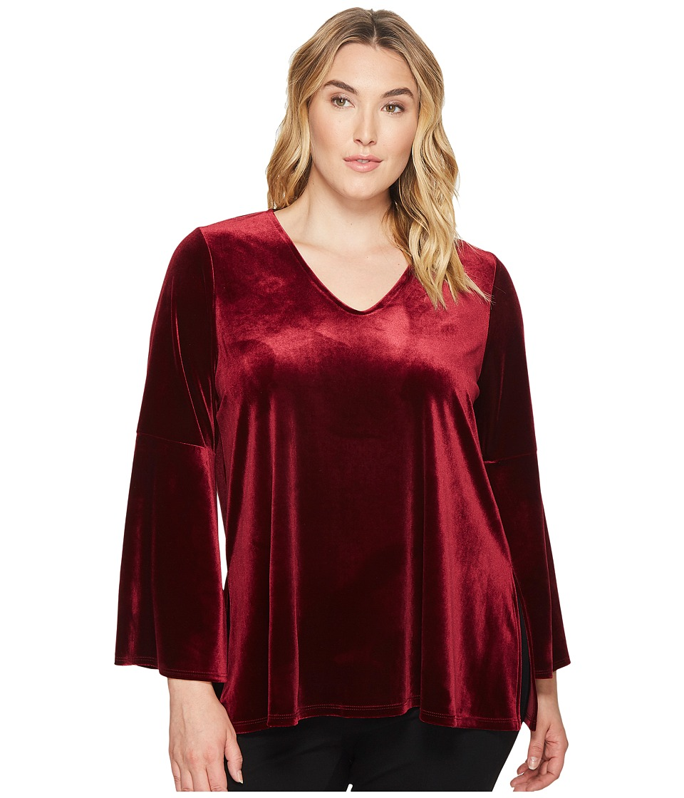Karen Kane Plus - Plus Size Velvet Bell Sleeve V-Neck Top...