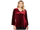 Karen Kane Plus Plus Size Velvet Bell Sleeve V-Neck Top