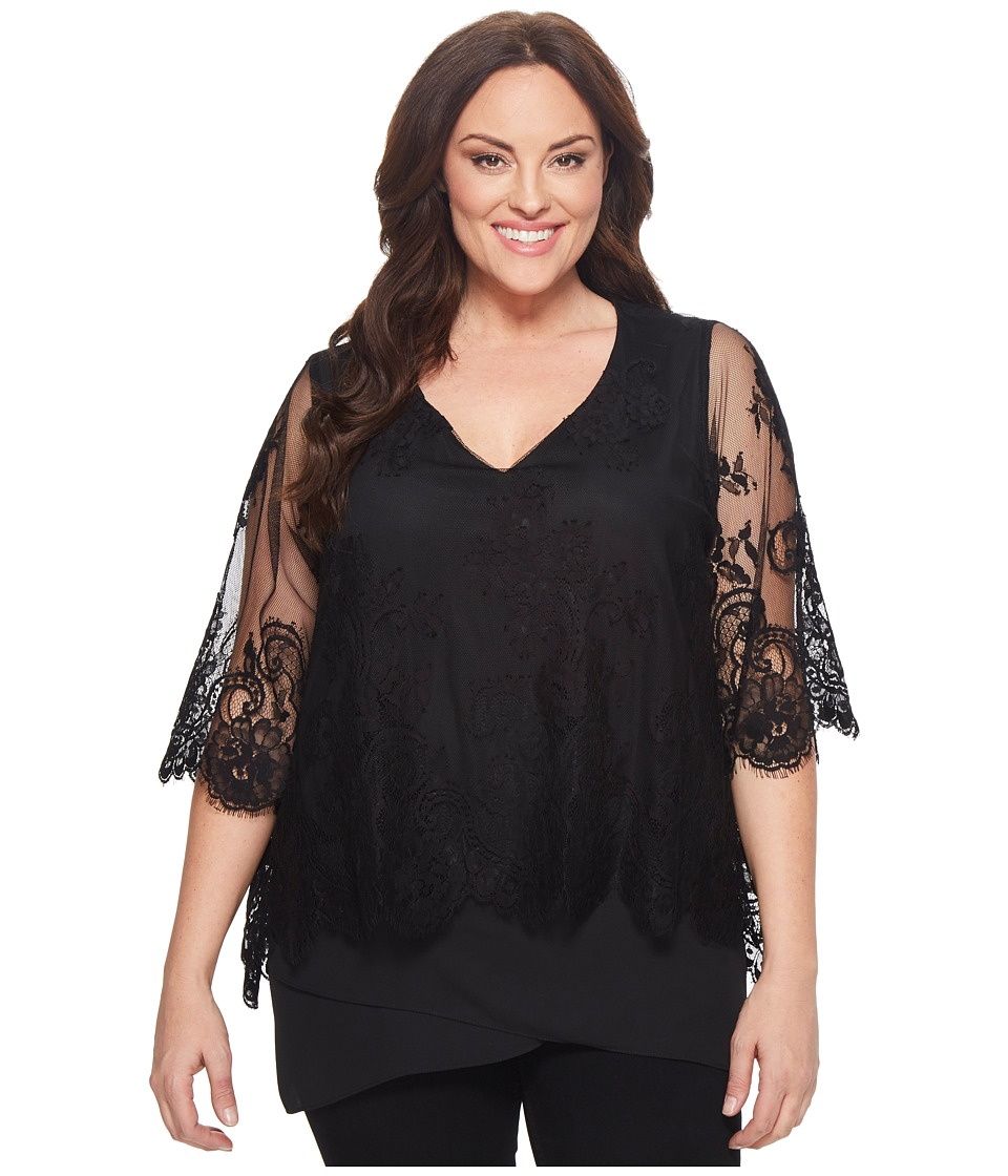 Karen Kane Plus - Plus Size Lace Overlay Asymmetric Top (Black) Womens Clothing