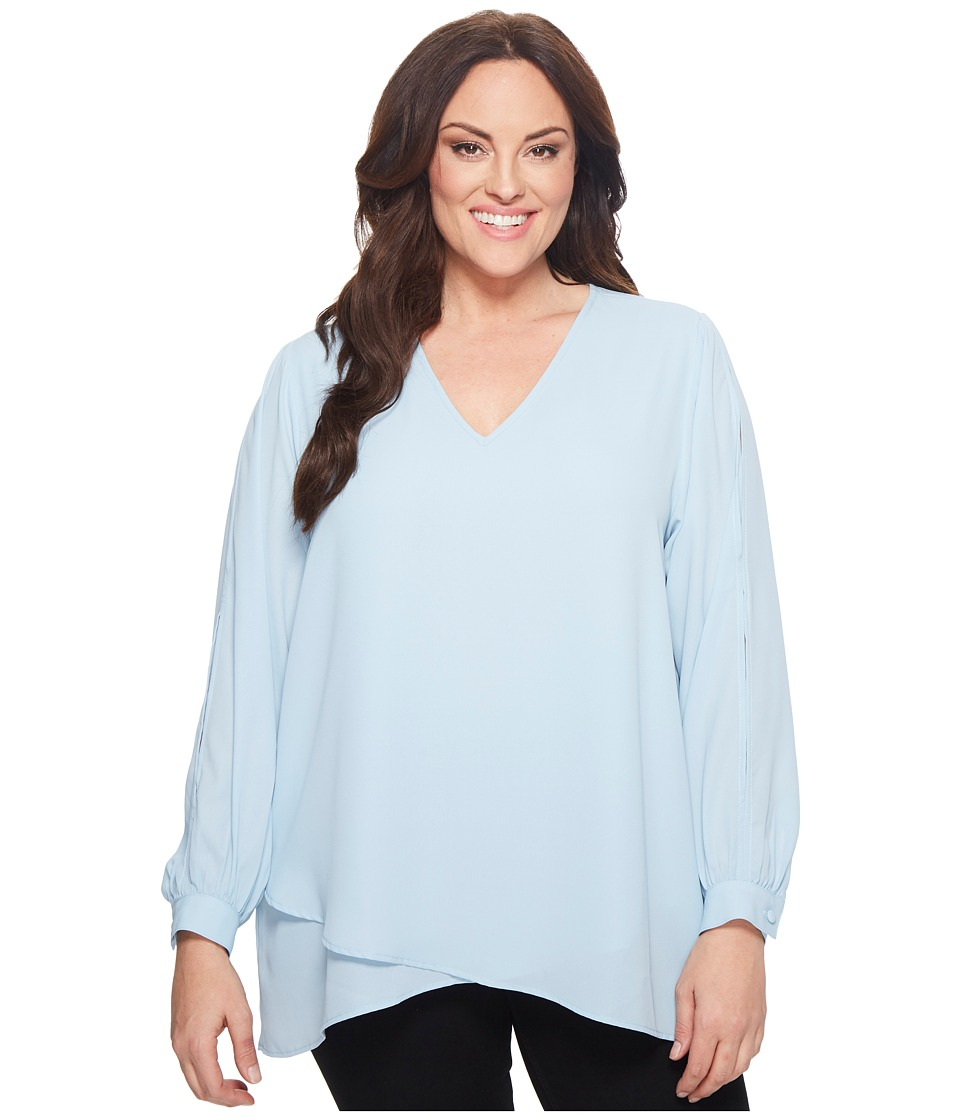 Karen Kane Plus - Plus Size Split Sleeve Crossover Top (Light Blue) Womens Clothing