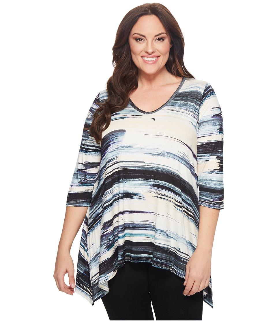 Karen Kane Plus - Plus Size Brushstroke 3/4 Sleeve Tee (Print) Womens T Shirt