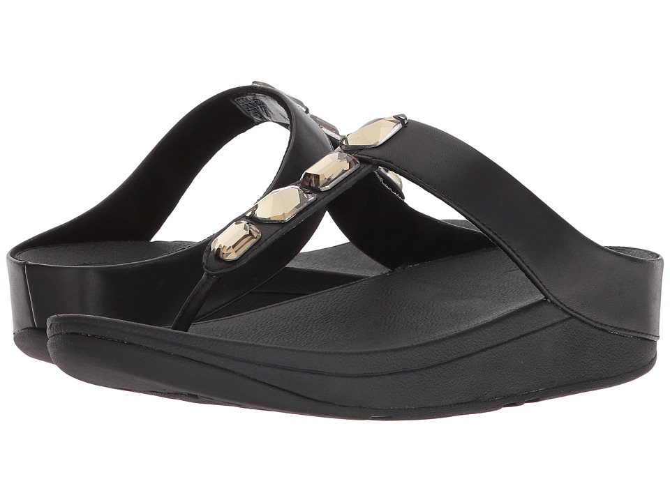 FitFlop - Roka Toe Thong Sandals (Black) Womens Sandals