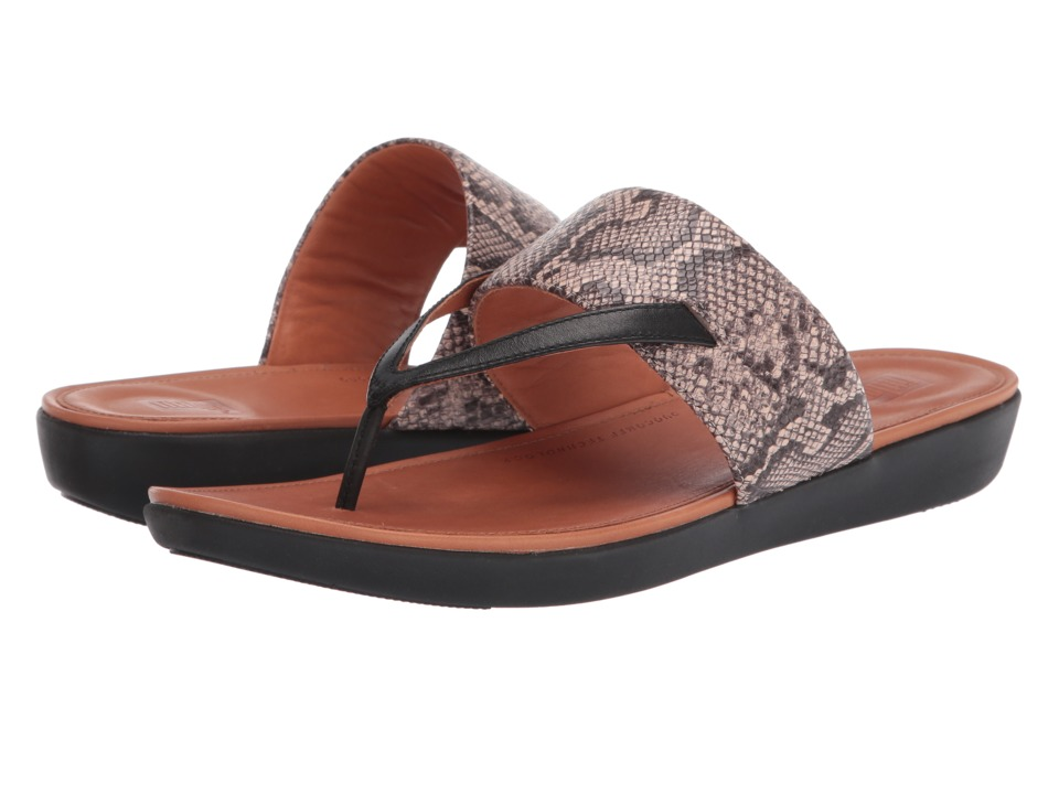 FitFlop - Delta Toe Thong Sandals (Taupe Snake/Black) Womens Sandals