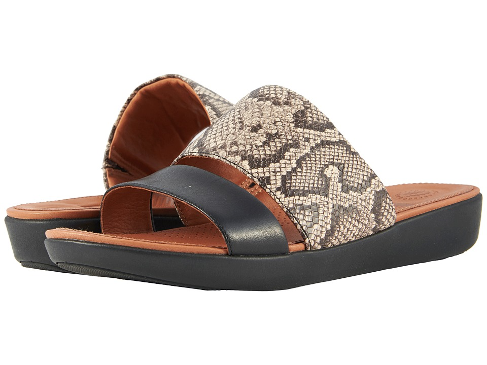 FitFlop - Delta Slide Sandals (Taupe Snake/Black) Womens Sandals