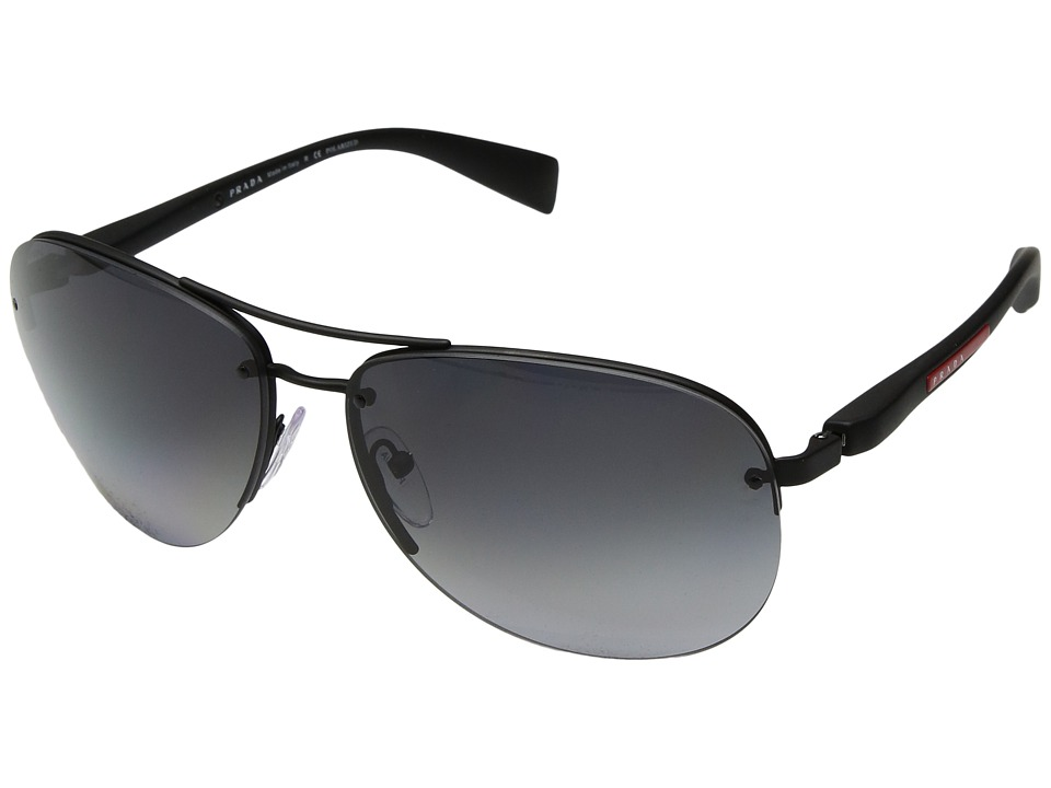 Prada Linea Rossa - 0PS 56MS (Black Rubber/Polarized Grey Gradient) Fashion Sunglasses